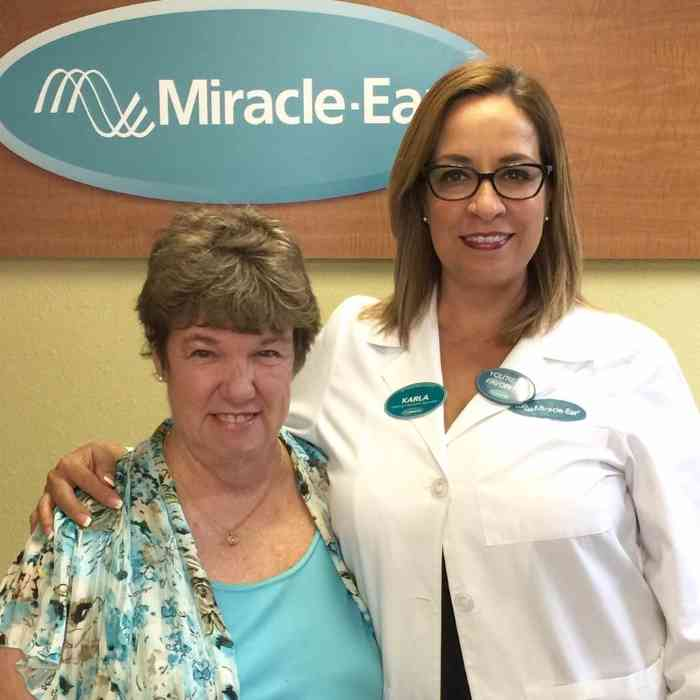 Patsy with free hearing aids from the Miracle-Ear Foundation