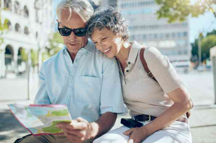 A smiling couple looking at a city map