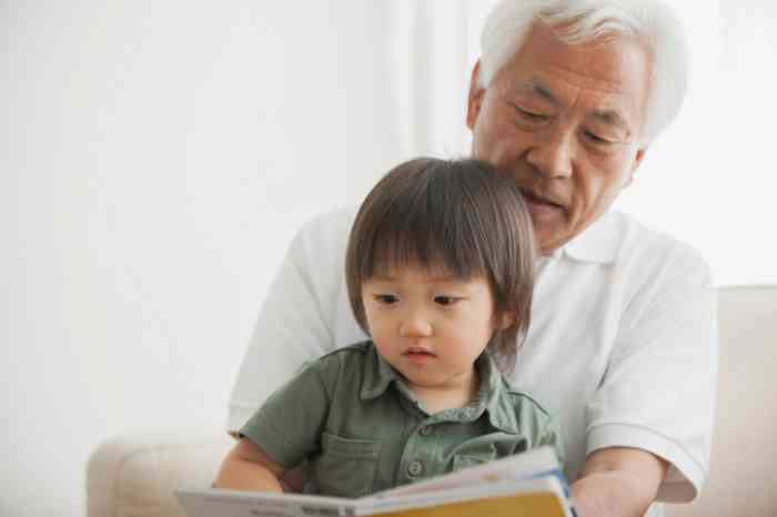 Elderly man helping his grandson to read a book