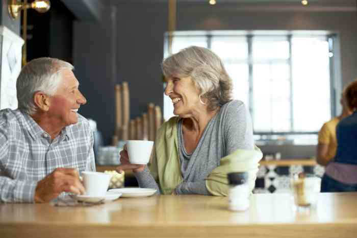 Elderly couple having a coffee in a bar