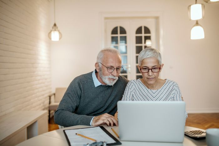 Elderly couple working with a computer