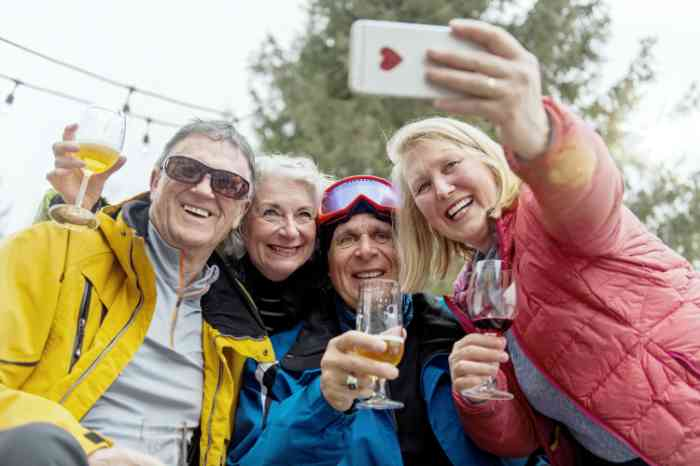 Friends taking a selfie on the mountain